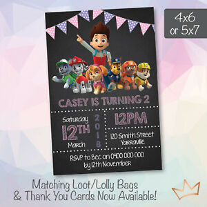 Personalised paw patrol birthday party invitation nick jr girls image is loading personalised paw patrol birthday party invitation nick jr filmwisefo
