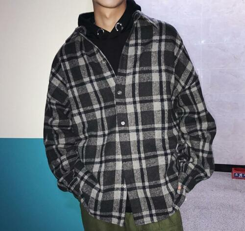 Men/'s Fashion Vintage Long Sleeve Plaid Shirt Youth Oversize Hip Pop Tops Jacket