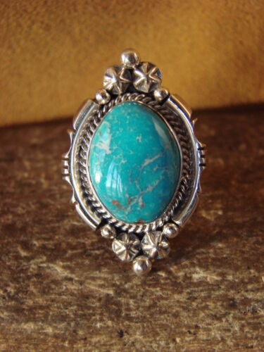 Navajo Jewelry Sterling Silver Turquoise Ring by Benally Size 6