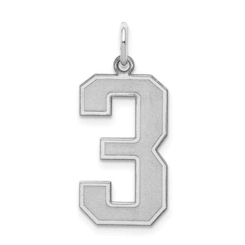 Sterling Silver Large Satin numéro 3 charme