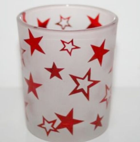 YANKEE CANDLE VOTIVE GLASS HOLDER ~ RED STARS ~ PATRIOTIC COLLECTION