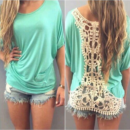 Damen Kurzarm Fledermaus T-Shirt Spitze Bluse Casual Shirts Sommer Pluig Size PD