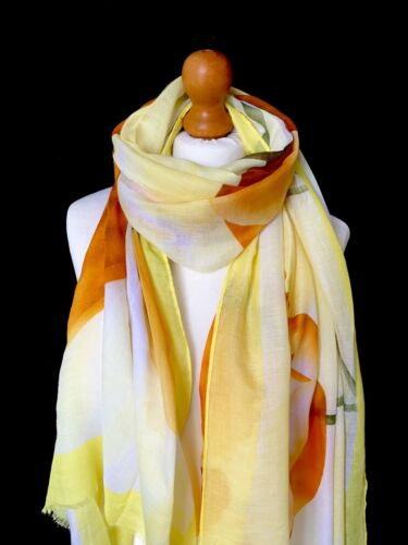 YELLOW LARGE LOTUS FLOWER FLORAL PRINT LIGHTWEIGHT SCARF WRAP GREAT GIFT IDEA
