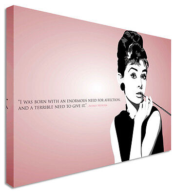Audrey Hepburn Quote Pink  - Canvas Wall Art Pictures For Home Interiors