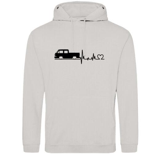 battito cardiaco VW t3 Doka Hoodie con Cappuccio Pullover immagine a22