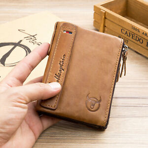 Details About Mens Real Leather Wallet Purse Credit Card Holder Wallet Brown Show Original Title