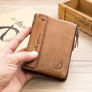 Herren-Echt-Leder-Geldbeutel-Portemonnaie-Kreditkarte-Halterung-Geldboerse-Braun