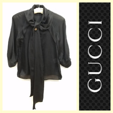 Gucci $1,125 ethereal loose-fit black silk blouse w/front ties~38/XS