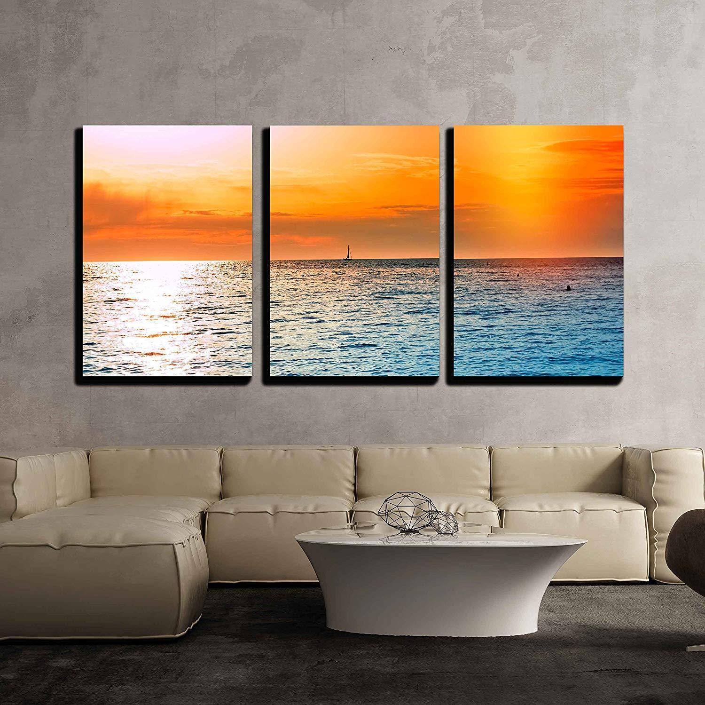 Wall26 - Sunset on Open Sea Beautiful Sunset at Dusk - CVS - 24 x36 x3 Panels