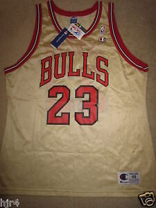 be8389b4c30 Michael Jordan #23 Chicago Bulls GOLD NBA Champion Jersey 48 XL NWT ...