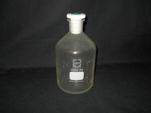 Details about Schott Duran 1000mL 1L Plastic-Coated Glass Storage Bottle &  PTFE #29 K Stopper