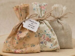 Image Is Loading Wedding Favour Bags Peach Cream Hessian Fl Personalised