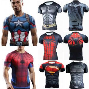 Marvel-Herren-Superheld-Kurzarm-Kompression-Sports-Fitness-T-shirt-Jogging-Tops
