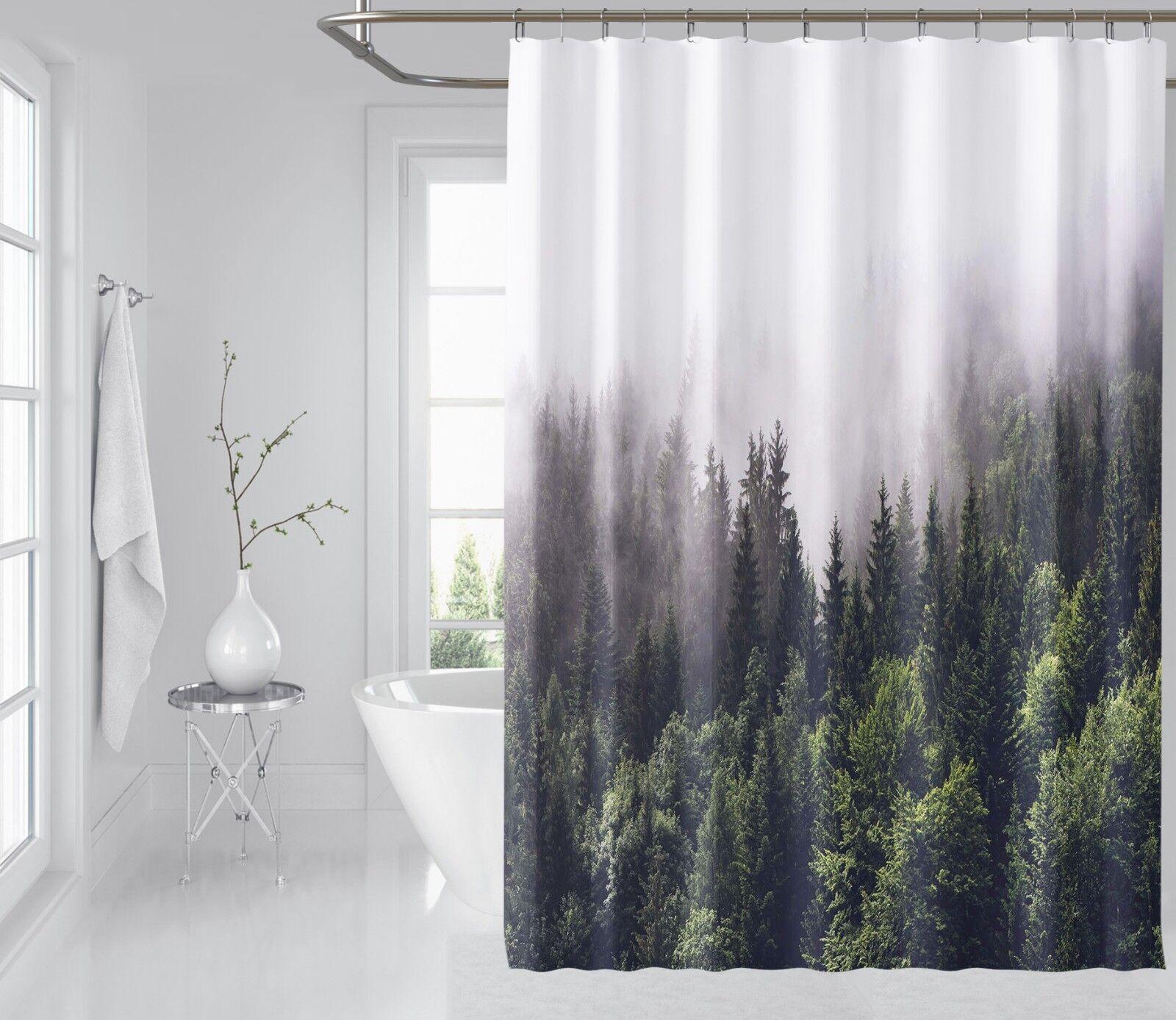 3D Nebbia Pineta 8 Tenda da doccia IMPERMEABILE Fibra Bagno WC Windows