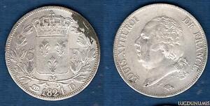 Louis-XVIII-1815-1824-5-Francs-Buste-nu-1824-D-Lyon-2-TB