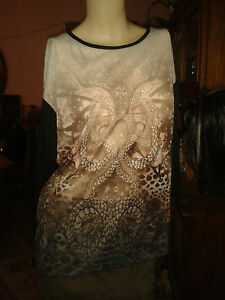 LAURA-TORELLI-3-4arm-sexy-transparent-Shirt-Tunika-schwarz-braun-Gr-42-44-L-NEU