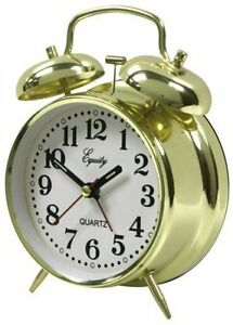 Retro double bells ringing alarm clocks vintage manual mechanical.