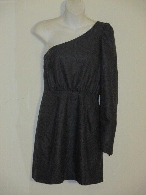 In God We Trust Grey Wool One Shoulder Pull City Dress Sz L NWOT
