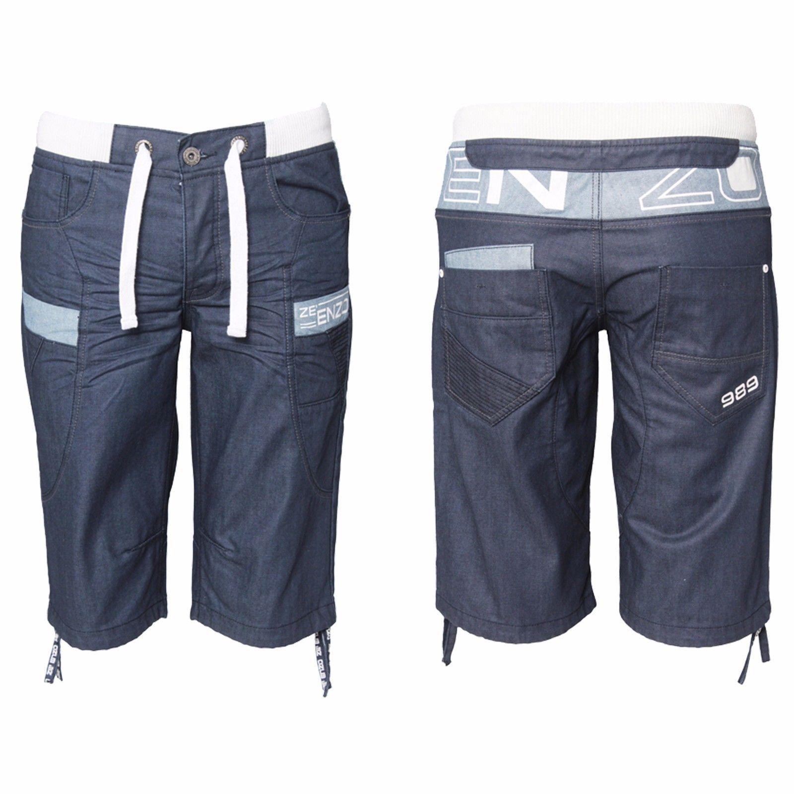 0a567a7c658802 Herren Enzo elastischer Bund Denim Shorts toller Detail EZS 372 -  dunkelblau | Gute Qualität