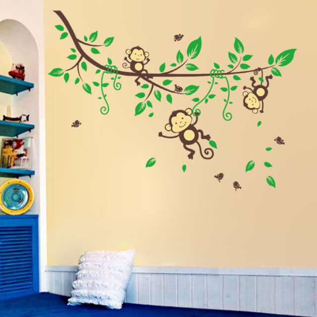 3 Swing Monkeys On Vines Wall Sticker Removable Vinyl Decal Kids Baby Decor Deco