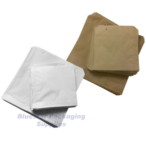 White Sulphite Strung Paper Food Bags for Sandwiches Groceries etc Brown Kraft