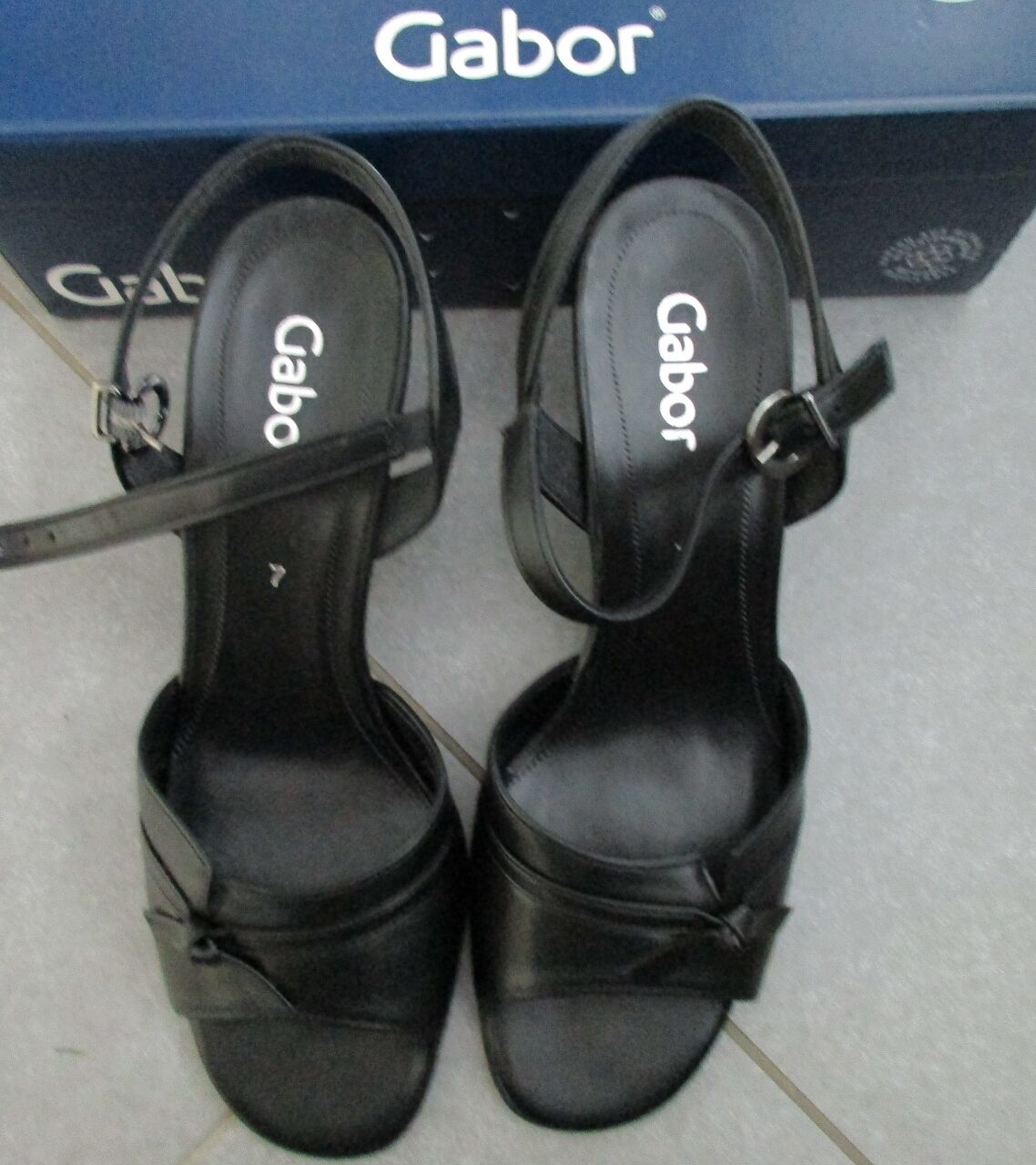 Gabor Schuhe Schuhe Gabor Sandalen Sandaletten Pumps Riemchenpumps Nappa schwarz Gr. 7 41 41f968