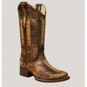 """Corral Ladies 13"""" Leather Cango Laser Woven Snip Toe Boots Tobacco A2992"""