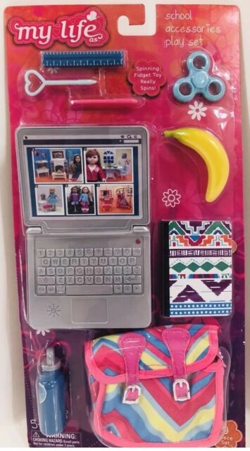 4a9b16a6c672 MY LIFE AS SCHOOL ACCESSORIES PLAY SET w LAPTOP COMPUTER BAG 9PC SET 18""