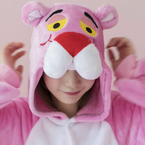 Hot Unisex Pink Panther Adult Costume Kigurumi Animal Cosplay Sleepwear Pajamas