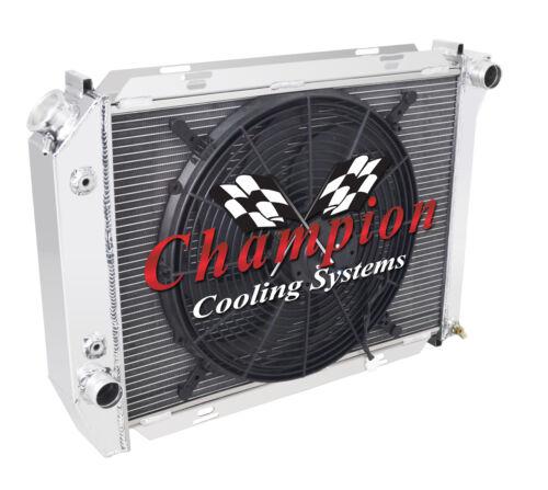 "Champion 3 Row Aluminum Radiator W// 16/"" Fan for 1968 Ford Galaxie V8 Engine"