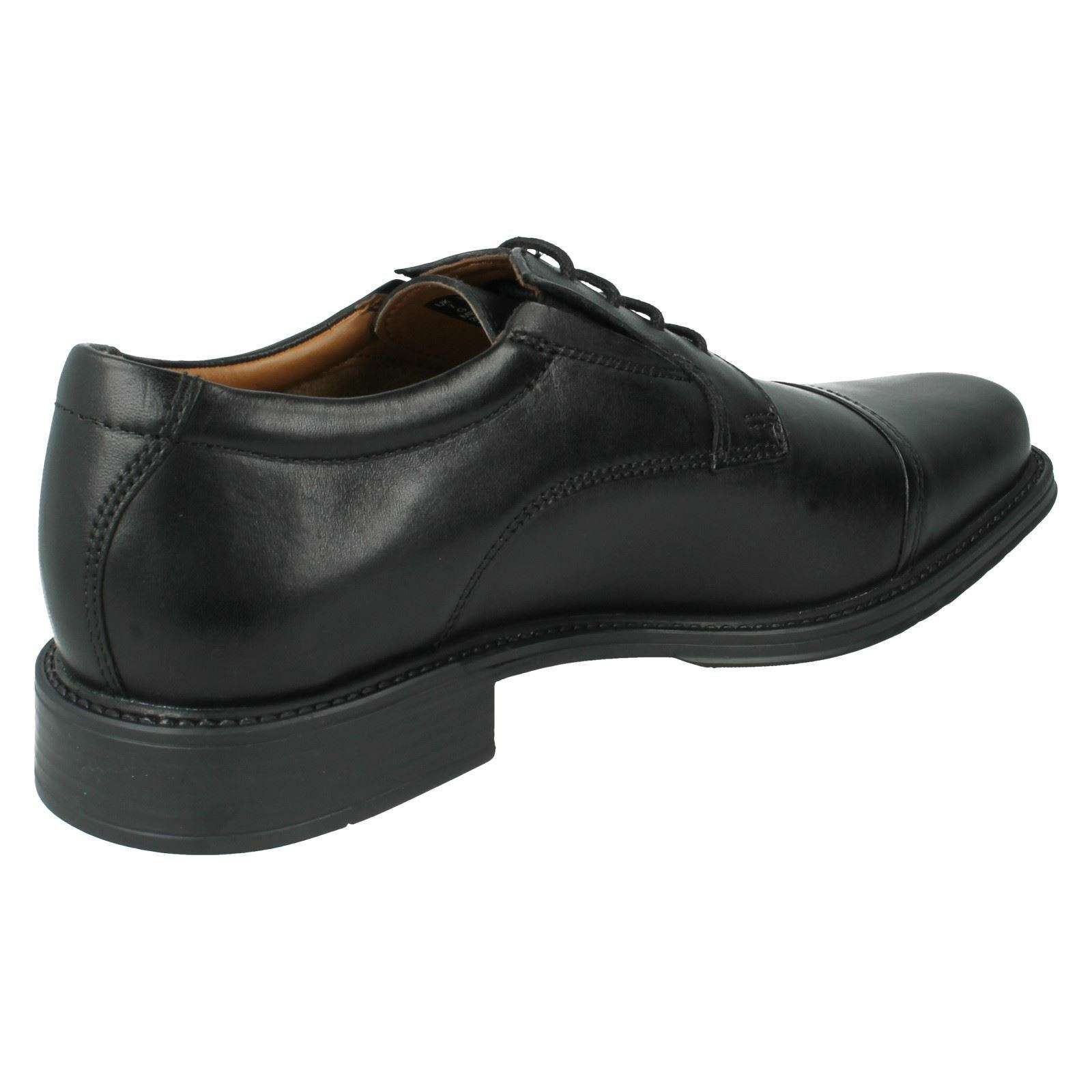 Mens Clarks Black Leather Lace Up Shoes G Fitting Driggs Cap