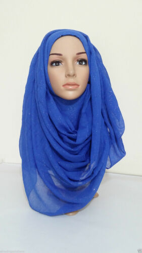 NEW Plain Color Shiny Shimmer Glitter Sparkly Scarf Hijab Shawl Wrap Wed*GltrScr