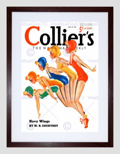 MAGAZINE COVER COLLIERS SYNCHRONISED SWIMMERS COSTUME FRAMED PRINT B12X12120