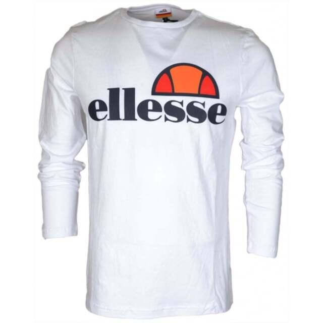 42e110adbb ellesse T Shirt Grazie Mens Optic White Long Sleeve Crew Neck Top 2xl