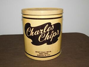 """VINTAGE KITCHEN 9"""" HIGH CHARLES CHIPS BBQ POTATO CHIPS TIN CAN  *EMPTY*"""