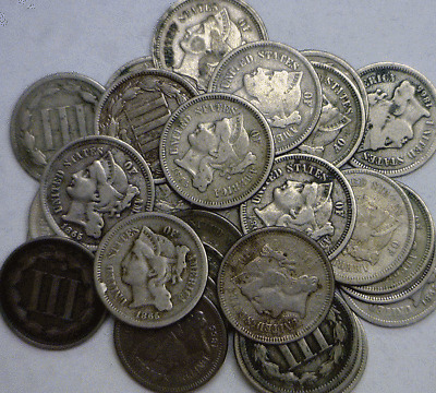1 Coin 1865-1881 3CN Three Cent Nickels Good Or Better Dates As They Come