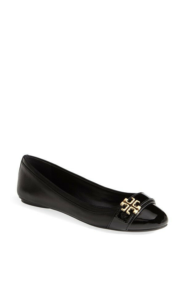 265+ Tory Burch ELOISE Ballet Flat shoes Sz 6.5 Black Leather   Patent