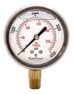 """2-1/2"""" Oil Filled Pressure Gauge - SS/Br 1/4"""" NPT Lower Mount 4000PSI"""