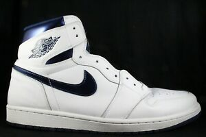 release date new high quality design Details about Nike Air Jordan 1 Retro High OG White Metallic Midnight Navy  size 15