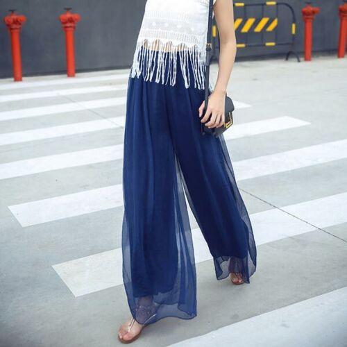 High waist harem maxi palazzo loose trousers wide leg chiffon casual pants