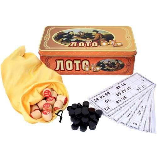 Russisches Lotto Gesellschafts Spiel Русское лото Bingospiel Loto in Metallkiste