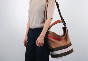 6390e6e74d96 Women Bag Medium Bucket Tote Bag Canvas Check Ashby Shoulder Sac ...