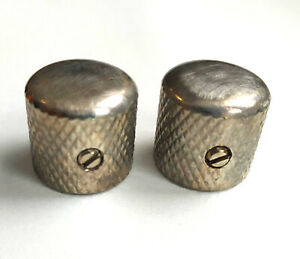 2 Boutons Dome Telecaster Metal Nickel AGED Gros Grains pour pots US 6,35mm