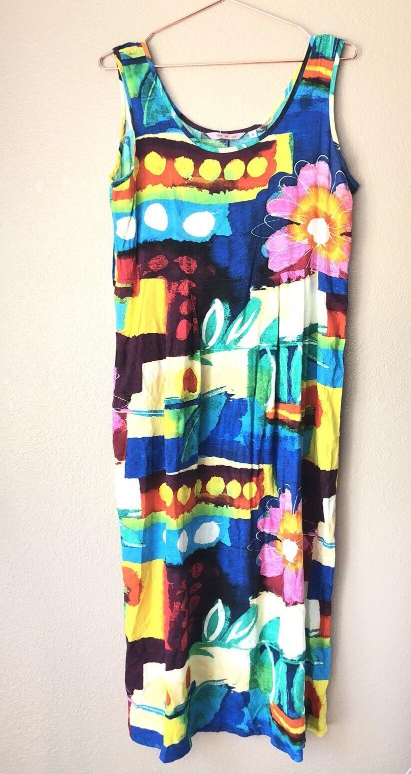 Jams World Floral Abstract Printed Sleeveless Dress Sz S MultiFarbe Pockets