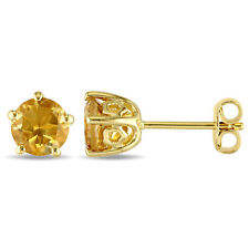 Amour Yellow Silver Citrine Stud Earrings