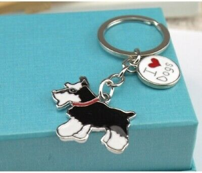 "Cloisonne Style Schnauzer Key Chain 4 1//2/"" Long Key Ring Puppy Dog Memorial Gift"