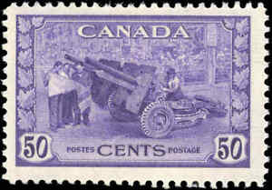 1942-Canada-Mint-H-F-Scott-261-50c-KGVI-War-Issue-Stamp