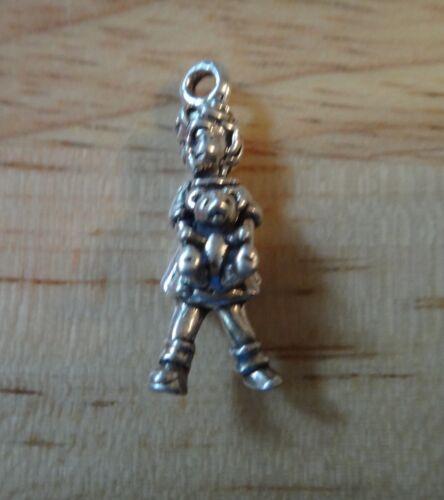 Argent Sterling 1 3D 22x9mm Solide Petite fille portant un Teddy Bear Charm