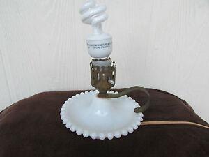 Image Is Loading Vintage Underwriters Laboratories Hobnail Milk Glass  Portable Lamp
