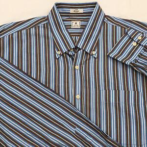 Peter-Millar-Men-s-Large-Striped-Button-Down-Casual-Shirt-Brown-Blue-White